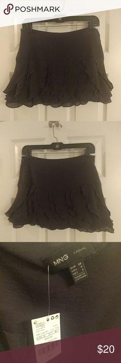Dark gray ruffled mini skirt MNG, size 4, NWT Dark gray mini skirt by MNG New MNG Skirts Mini