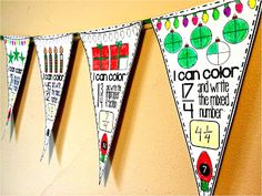 Christmas fractions math pennant for converting between mixed numbers and improper fractions. Holiday Classrooms, Math Classroom, Classroom Ideas, Math Resources, Math Activities, Fraction Activities, Sixth Grade Math, Fourth Grade, Third Grade