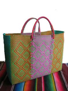 Plastic Woven Large Tote, Oaxaca Bag,  recycled plastic woven bag.
