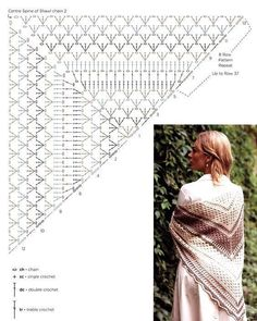 Crochet Beautiful Shawl - pattern crochet shawl 2 The Effective Pictures We Offer You About Beauty room A quality picture ca - Crochet Shawl Diagram, Crochet Shawl Free, Crochet Shawls And Wraps, Crochet Scarves, Crocheted Scarf, One Skein Crochet, Crochet Lace, Crochet Triangle, Beautiful Crochet