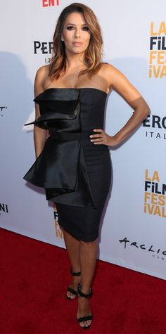 Eva Longoria had that newlywed glow about her when she arrived to the premiere of Lowriders during the opening night of 2016 LA Film Festival and stunned in a strapless draped Vatanika LBD with black Alaia sandals.