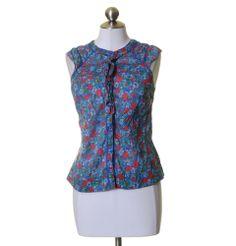 Edme & Esyllte Blue & Red Floral Pin-tucked Ruffle Cotton Blouse Size 4