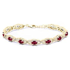 11.08 Ct Oval Red Created Ruby 18K Yellow Gold Plated Silver 7 Inch Bracelet With 1 Inch Extender 7 inch with 1 inch Extender. VIBRANT- Gemstones make this bracelet beautiful and romantic all at once! This bracelet is a truly outstanding piece that belongs in every jewelry collection. UNIQUELY DESIGNED- With simplicity in mind this bracelet is the perfect item for gift givers who want to show they care. Perfect for birthdays, weddings, mother day or just those moments when you want to get…