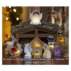 In The Hoop :: Tealight (Battery Operated) Covers :: Nativity Flameless Tealight Covers - Embroidery Garden In the Hoop Machine Embroidery Designs
