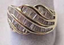14KT Yellow Gold Baguette Diamond Wedding Anniversary Band Ring Sz 8 1/4