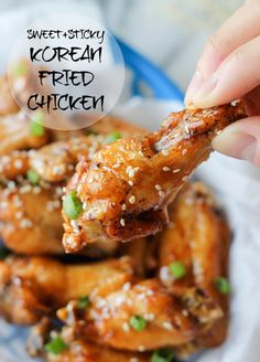 Wendi Hamel via Damn Delicious Korean Fried Chicken - Super easy and simple 3 ingredient sweet and sticky chicken wings - the only chicken wing recipe you'll ever need! Think Food, I Love Food, Good Food, Yummy Food, Tasty, Dutch Oven Recipes, Cooking Recipes, Korean Fried Chicken, Korean Chicken Wings