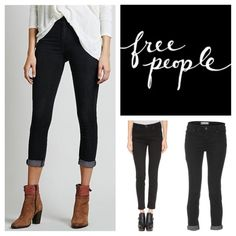 "Free People High Roller Skinny Jeans.  NWT. Free People Black High Roller Skinny Jeans, 53% cotton, 23% rayon, 22% polyester, 2% spandex, machine washable, 31.5"" waist, 11"" front rise, 14.5"" back rise, 26.5"" inseam, 12.5"" leg opening all around, stretchy, fitted, five pockets, belt loops, zip fly button front closure, measurements are approx. ...No Trades... Free People Jeans Skinny"