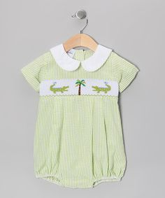 Take a look at this Green Alligator Smocked Bubble Bodysuit - Infant by Sweet Teas Children's Boutique on #zulily today!