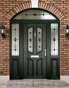 If the time has come for you to consider changing your front or back door, we can help - build a composite door; Upvc Front Door, Sliding Glass Door, Pvc Front Doors, Porch Designs Uk, Black Front Doors, Entrance Doors, Stained Glass Door, Doors, Composite Front Door