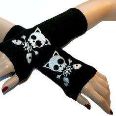 Anime Kitty Skull Crossbones Skull Fleece Black Arm Warmers! Sooooo cute and super stylish for the anime person in your family!