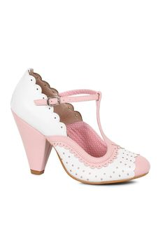 e30baaae38be Buy Sexy Pink Polka Dot Chunky Heels Faux Leather with cheap price and high  quality Heel