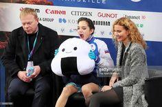 News Photo : Evgenia Medvedeva of Russia waits for her score...