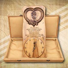 50. házassági évfordulóra különleges falióra díszdobozban - Mívesfa #házasságiévforduló #ajándék #falióra ajándékdíszdobozban #egyediajándék Fa, Diy And Crafts