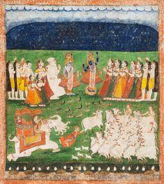 Lot 3224 - Pichhavai mit der Legende Krishnas und Govardhana Pujas-Pichhavai with the legend of Krishna lifting