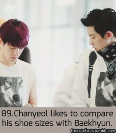 "EXO FACT ♡ #KPOP - 89  ((more like ""Chanyeol likes ------------ Baekhyun"" ㅋㅋ))"