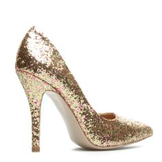 Pink and gold glitter pumps