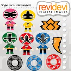 Rangers samurai in red, green, blue, and pink and yellow too!. These japanese superheroes are so cool! These   digital images  are  great for any craft and  creative     projects (first birthday, etc)