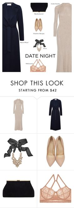"""UP YOUR DATE NIGHT"" by s-thinks on Polyvore featuring Cédric Charlier, Harris Wharf London, GUESS by Marciano, Charlotte Olympia, OnGossamer, DateNight and topset"