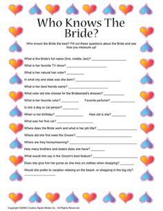 who knows the bride? Good bridal shower game @Lindsey Grande Grande Erlenbach