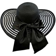 Black Wide Brim Pattern Floppy Hat Large With Satin Bow ($35) ❤ liked on Polyvore featuring accessories, hats, black, stripe hat, floppy hat, striped floppy hat, print hats and black hat