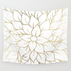 Gold Faux Foil Chic Floral Elegant Pattern Wall Hanging Tapestry by Pink Water - Small: x Tapestry Bedroom, Wall Tapestry, Dorm Decorations, Flower Decorations, Dollar Store Crafts, Pink Walls, Wall Patterns, Pattern Art, Gold Pattern