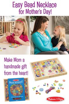 """Statement necklaces are all the rage, and this one sweetly says, """"I love you, Mom!"""" To make this kids' craft or other original Mother's Day gifts, check out the Melissa & Doug easy-to-use Bead Bouquet Deluxe Wooden Bead Set. A young jewelry designer's dream, it comes with a wooden sorting tray stocked with 220 colorful and handcrafted heart, flower, and butterfly beads, as well as  8 multicolored cords that can be cut to make necklaces, bracelets, or anklets."""