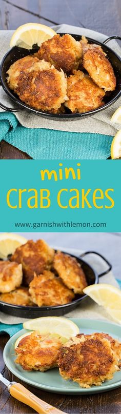 Mini Crab Cakes are perfect for summer parties. Crisp, golden brown and not a lot of filler - just big lumps of crab! ~ http://www.garnishwithlemon.com