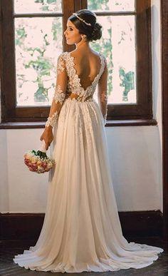 Elegant Tulle & Chiffon V-neck Neckline Sheath Wedding Dresses With Beaded Lace Appliques