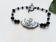 Ruta graveolens - Rue Fine Silver Bracelet with Black Onyx and Spinel - Botanical Jewelry   by Quintessential Arts