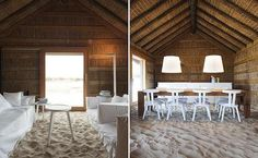 A Rustic Sandy-Floored Hotel Brings The Beach Indoors - CasasNaAreia in Alentejo, Portugal in the Sado River natural reserve Bungalow Resorts, Sand Floor, Hotels Portugal, Beach Houses For Rent, Beach Bungalows, Lounge, Cottage Design, Love Home, Beach Cottages