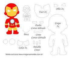 Molde Personagem - Homem de Ferro - Molde para Feltro - EVA, Molde Personagem - Homem de Ferro - Molde para Feltro - EVA e Artesanato