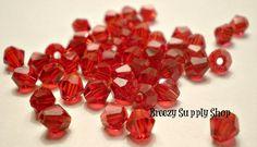 100 Swarovski 4 MM Bicone Rich Red Crystals by BreezySupplyShop, $9.00