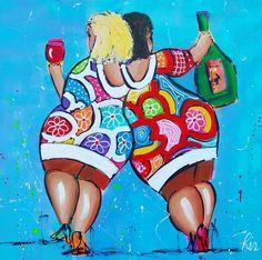 Vrolijk Schilderij Dames Blauw