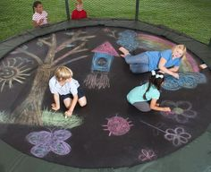 Summer Fun - Sidewalk Chalk on Trampoline.