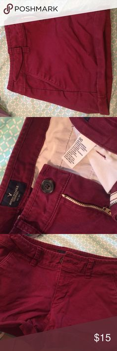 Burgundy/Red midi shorts by American Eagle Size 00. Burgundy/Red American Eagle midi shorts American Eagle Outfitters Shorts