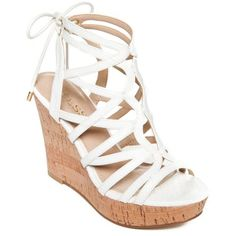 9e339383152 Guess White Huyana3 Cork Wedge Sandals - Women s ( 60) ❤ liked on Polyvore  featuring