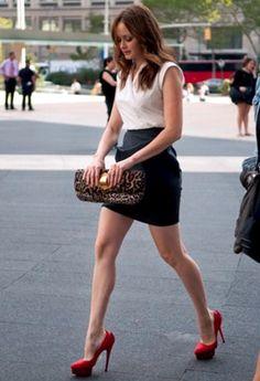 Alexis Bledel long legs in a short skirt and sky high heels