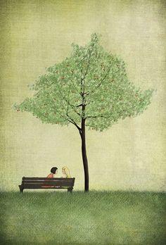 Under the cherry tree  Summer  Illustration print size by majalin, kr110.00