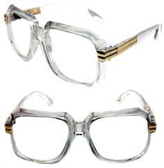 aaddb958bd40 Men s Hip Hop 80 s Clear Gold Accents Gazelle Vintage Retro Sunglasses 607  Grandmaster Retro 80 s