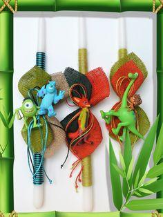 Πασχαλινές λαμπάδες Disney. Palm, Sunday, Easter, Candles, Christmas Ornaments, Holiday Decor, School, Disney, Home Decor