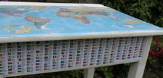 For Sale - £100 - vintage school desk decoupaged with world map and flags.  Painted in Annie Sloan Old White. www.revivedlondon.com