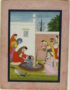 The Bath of Krishna and Balarama Unknown artist  Painting   Indian , 19th century, c. 1820  Creation Place:Kangra, Himachal Pradesh, India Watercolor on paper sight: 27.4 x 20.3 cm (10 13/16 x 8 in.)   Harvard Art Museums/Arthur M. Sackler Museum, Gift of John Kenneth Galbraith , 1971.134   Department of Islamic & Later Indian Art , Division of Asian and Mediterranean Art