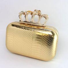 Fashion Hard Case Crystal Skull Detailed Clutch/Shoulder Bag EHP7041-BG35 Gold – 025 JF