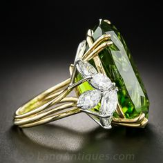 Colossal Vintage Peridot and Diamond Ring
