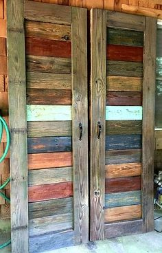 Colorful reclaimed wood barn doors.