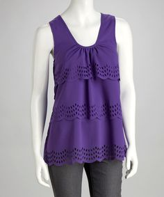 Take a look at this Plum (purple) Eyelet Scoop Neck Tank by Simply Irresistible on #zulily today! $17