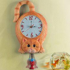 Reloj de Pared Gato con Péndulo | Relojes de Pared