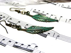 Feather Earrings Brass Earrings Top Selling Jewelry by LunaEssence