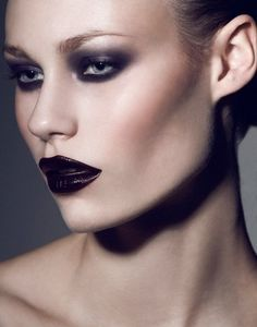 Smokey eye, bold lip, strong contour