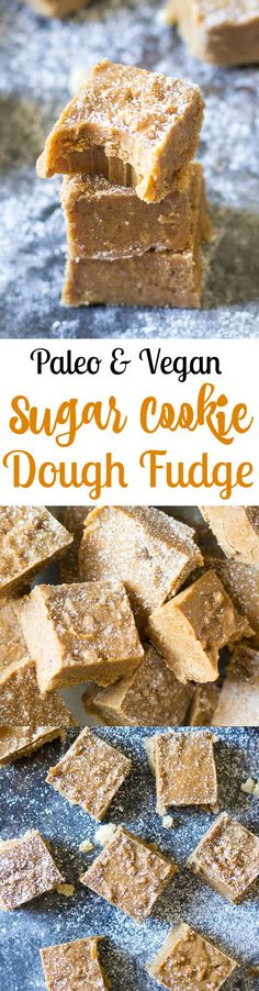 This creamy, rich and sweet Vanilla Sugar Cookie Dough Fudge is secretly healthy for you but you'd never guess! Paleo and vegan sugar cookie dough is swirled through vanilla fudge, then chilled to achieve the perfect texture. Great for the holidays or anytime!